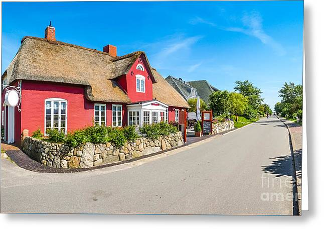 Beautiful And Traditional Thatched House In German North Sea Vil Greeting Card by JR Photography