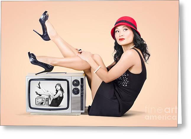 Beautiful Asian Pin Up Girl Posing On Retro Tv Set Greeting Card