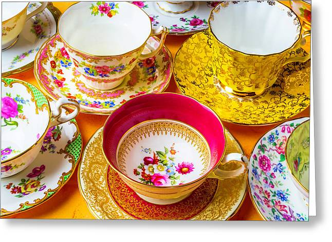 Beautiful Assortment Of Tea Cups Greeting Card by Garry Gay