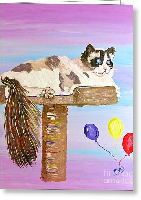 Beautiful Athena The Ragdoll Cat Greeting Card by Phyllis Kaltenbach