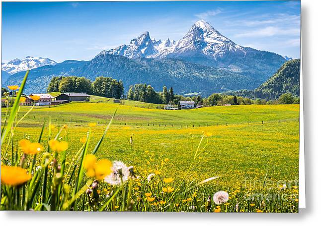 Beautiful Austrian Mountain Landscape With Flowers And Idyllic Farm Houses Greeting Card