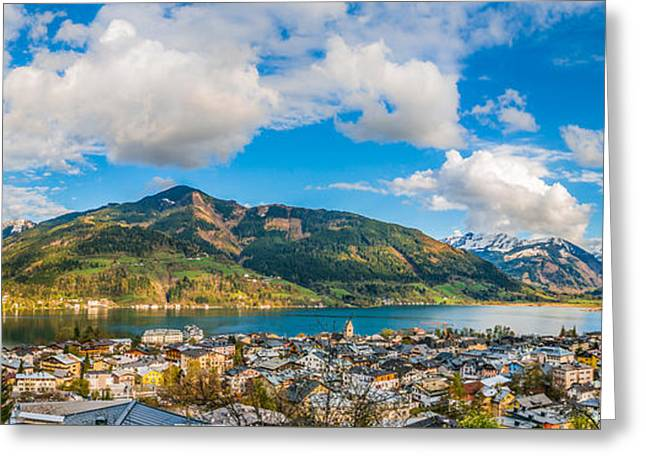 Beautiful Austrian Mountain Landscape With Lake And Idyllic Village Greeting Card