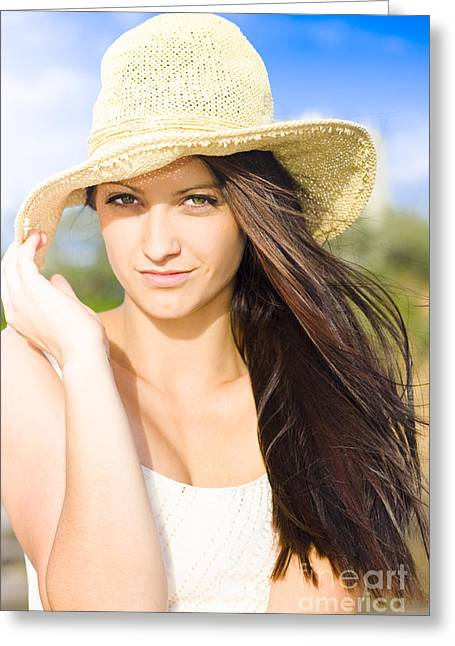 Beautiful Beach Babe With Long Brunette Hair Wearing Hat Greeting Card by Jorgo Photography - Wall Art Gallery