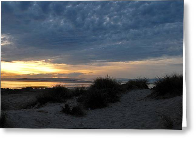 Beautiful Beach San Dunes Sunset And Clouds Greeting Card by Matt Harang
