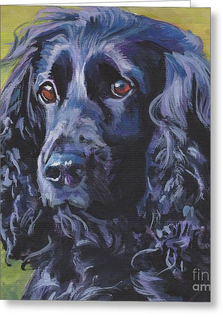 Greeting Card featuring the painting Beautiful Black English Cocker Spaniel by Lee Ann Shepard
