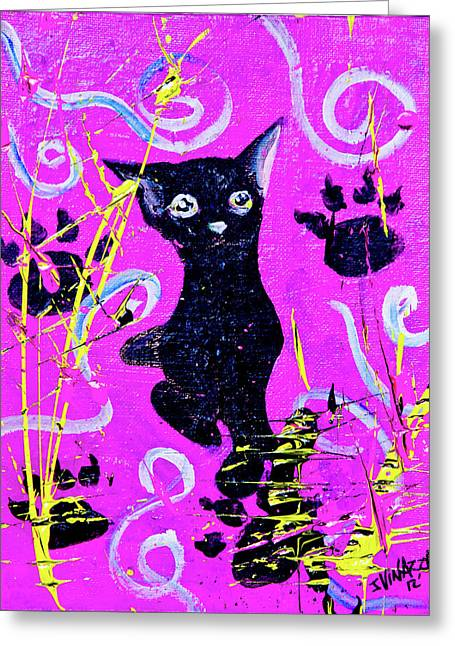 Greeting Card featuring the mixed media Beautiful Black Pussy by eVol i