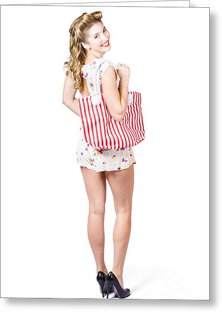 Beautiful Blond Female Shopper Holding Shop Bag Greeting Card by Jorgo Photography - Wall Art Gallery