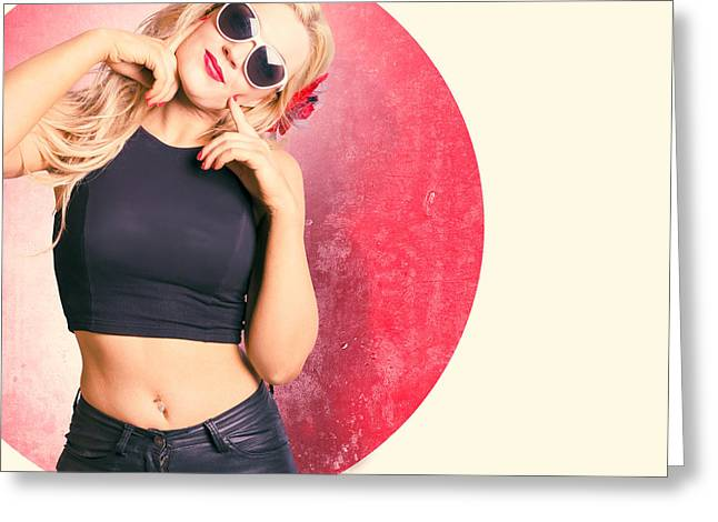 Beautiful Blond Pinup Girl With Shocked Expression Greeting Card by Jorgo Photography - Wall Art Gallery