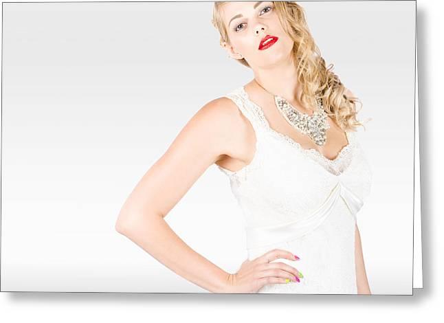 Beautiful Blonde Female Model In Wedding Fashion  Greeting Card