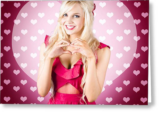 Beautiful Blonde Woman Gesturing Heart Shape Greeting Card