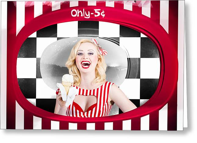 Beautiful Blonde Woman Serving Ice Cream Greeting Card by Jorgo Photography - Wall Art Gallery