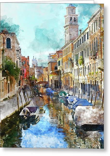 Beautiful Boats In Venice, Italy Greeting Card