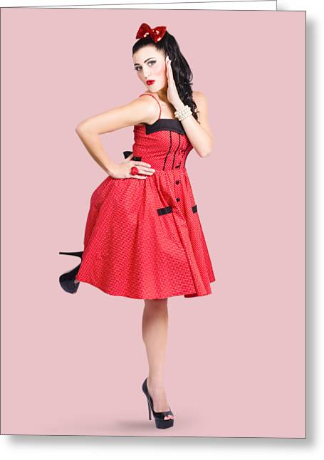 Beautiful Brunette Pinup Girl In Red Retro Dress Greeting Card by Jorgo Photography - Wall Art Gallery