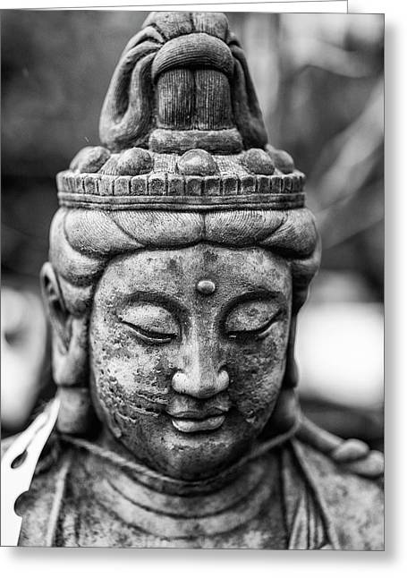 Beautiful Buddha Statue Portrait With Shallow Depth Of Field For Greeting Card by Matthew Gibson