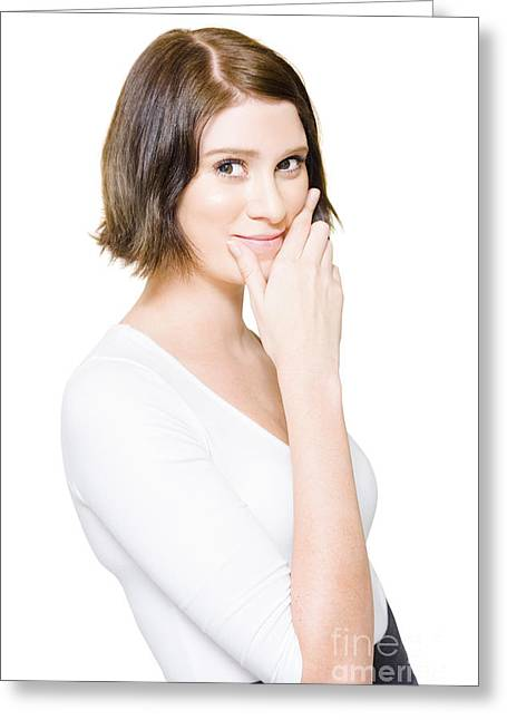 Beautiful Business Woman Putting On A Happy Face Greeting Card by Jorgo Photography - Wall Art Gallery