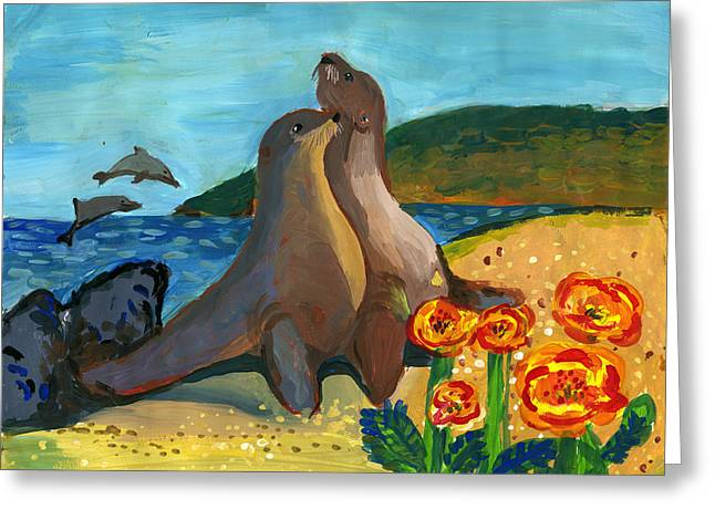 Beautiful California Coast By Rajvi Bhavin Shah 1st Grade Greeting Card