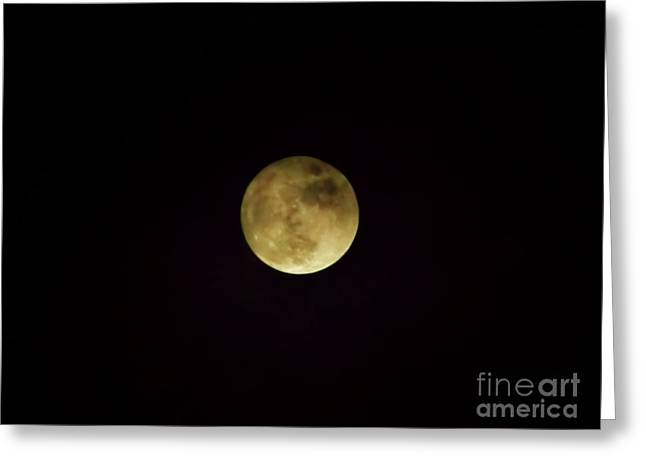 Beautiful Cloudy Moon Greeting Card by D Hackett