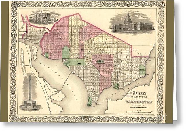 Beautiful Collectable Vintage Wall Map Of Old Washington Dc With Landmarks And Monuments Greeting Card