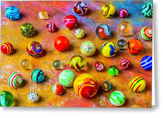 Beautiful Colored Glass Marbles Greeting Card by Garry Gay
