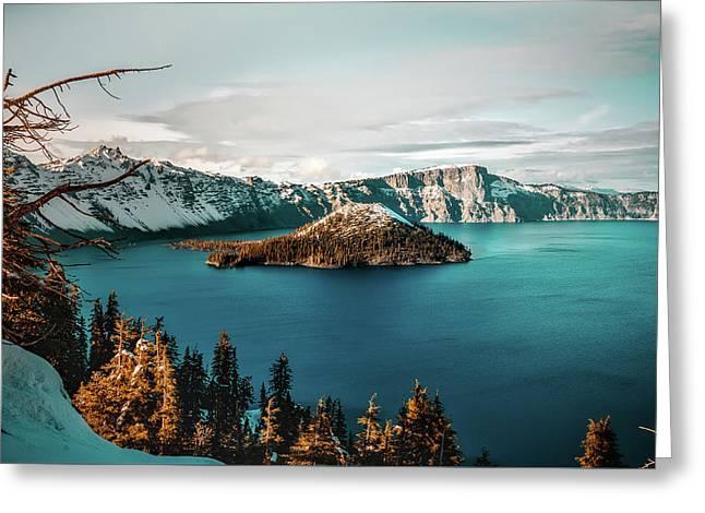 Beautiful Crater Lake Greeting Card by Jeff Hopper