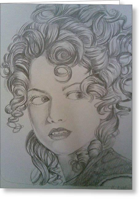 Beautiful Curls Greeting Card by Nischitha Shenoy