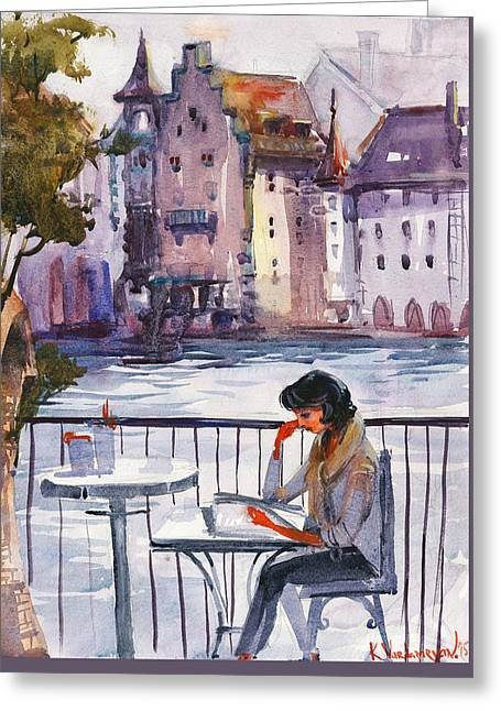 Beautiful Day, Reading Greeting Card by Kristina Vardazaryan