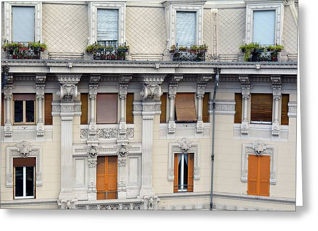 Beautiful Decorative Classical Building Facade From Genova Greeting Card