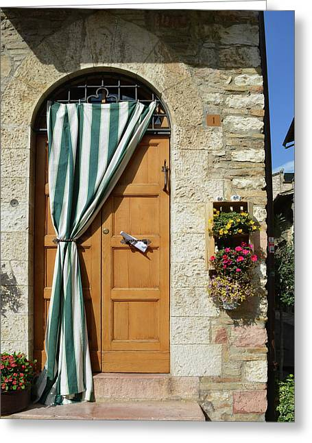 Beautiful Door With Curtain From Assisi. Greeting Card