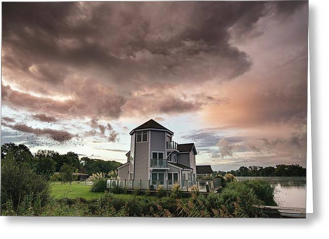 Beautiful Dramatic Clouds Formation Over Lake Landscape Immediat Greeting Card by Matthew Gibson