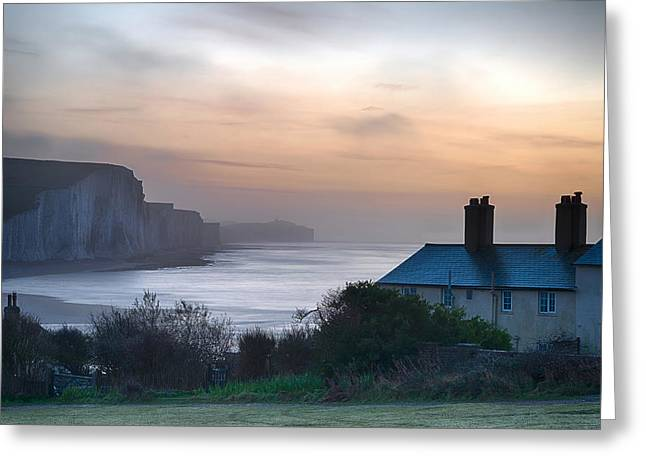Beautiful Dramatic Foggy Winter Sunrise Seven Sisters Cliffs Lan Greeting Card by Matthew Gibson