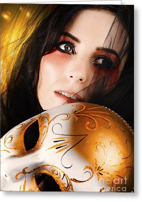 Beautiful Female Performer Face. Perfect Makeup Greeting Card
