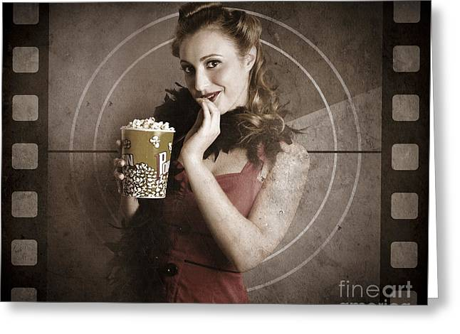 Beautiful Film Actress On Vintage Movie Screen Greeting Card by Jorgo Photography - Wall Art Gallery