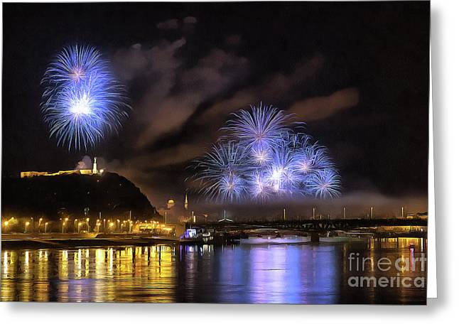 Beautiful Fireworks In Budapest Hungary Greeting Card by Odon Czintos