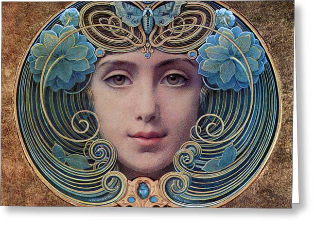 Beautiful French Art Nouveau Woman Greeting Card