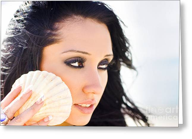 Beautiful Girl Holding A Cockle Shell Greeting Card by Jorgo Photography - Wall Art Gallery