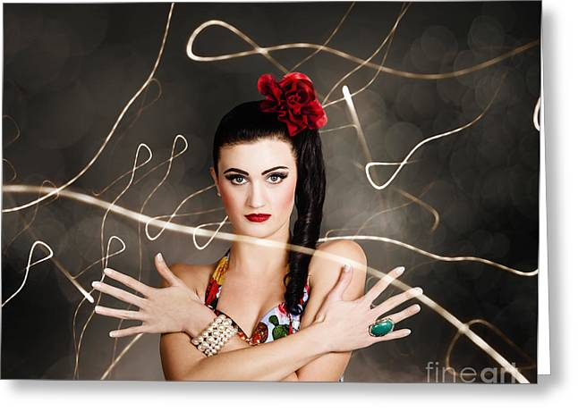 Beautiful Girl In Retro Fashion Style Greeting Card by Jorgo Photography - Wall Art Gallery