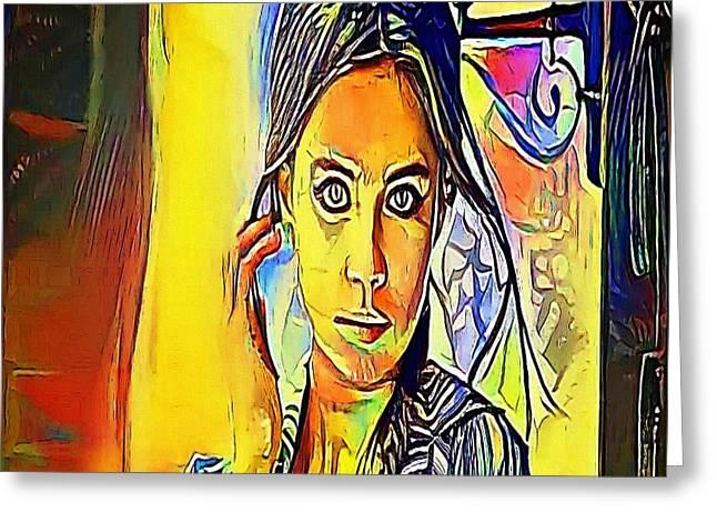 The Girl Wide-eyed - My Www Vikinek-art.com Greeting Card by Viktor Lebeda