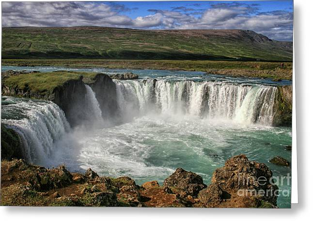 Beautiful Godafoss Waterfall In Iceland Greeting Card