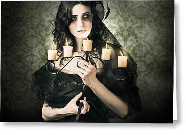 Beautiful Grunge Woman In Dark Vogue Fashion Style Greeting Card by Jorgo Photography - Wall Art Gallery
