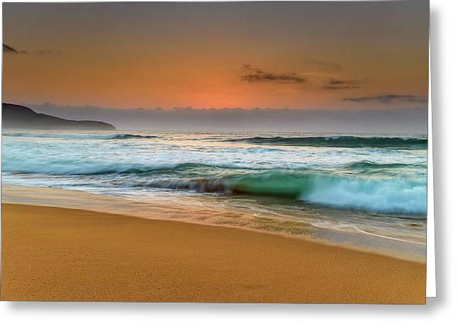 Beautiful Hazy Sunrise Seascape  Greeting Card