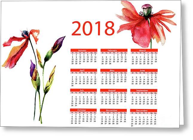 Beautiful Iris And Poppy Flowers Greeting Card
