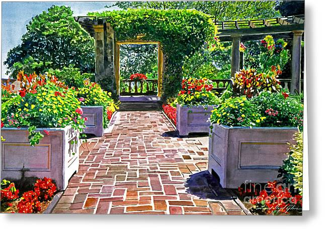 Beautiful Italian Gardens Greeting Card by David Lloyd Glover