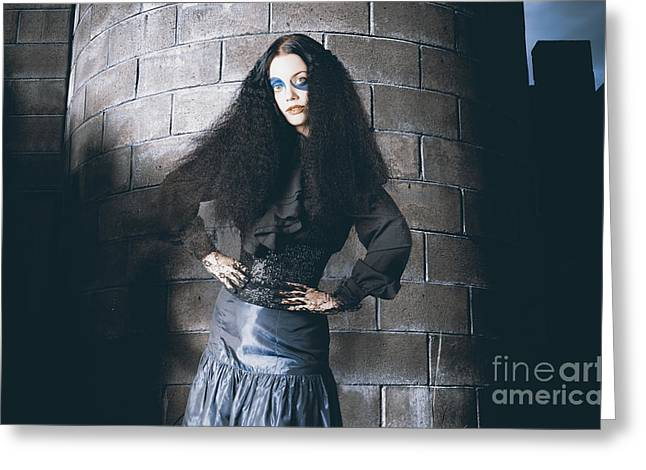 Beautiful Jester Posing Next To Castle Tower Greeting Card by Jorgo Photography - Wall Art Gallery