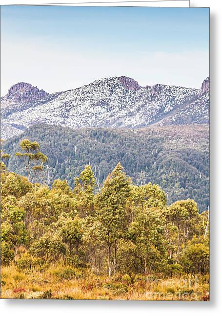 Beautiful Landscape With Partly Snowed Mountain  Greeting Card by Jorgo Photography - Wall Art Gallery