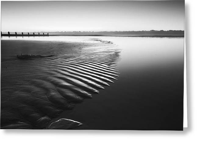 Beautiful Low Tide Beach Vibrant Sunrise In Black And White Greeting Card by Matthew Gibson
