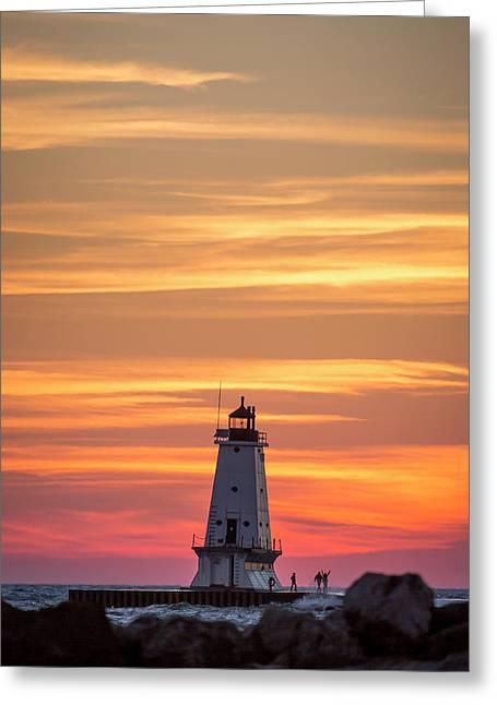 Beautiful Ludington Lighthouse Sunset Greeting Card