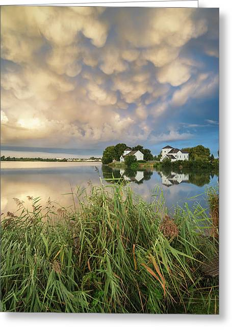 Beautiful Mammatus Clouds Formation Over Lake Landscape Immediat Greeting Card by Matthew Gibson