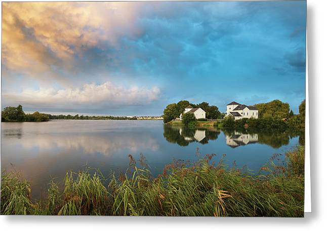 Beautiful Mammatus Clouds Forming Over Lake Landscape Immediatel Greeting Card by Matthew Gibson