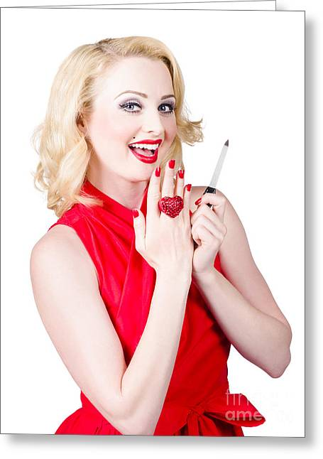 Beautiful Manicure Woman Wearing Red Nail Polish Greeting Card