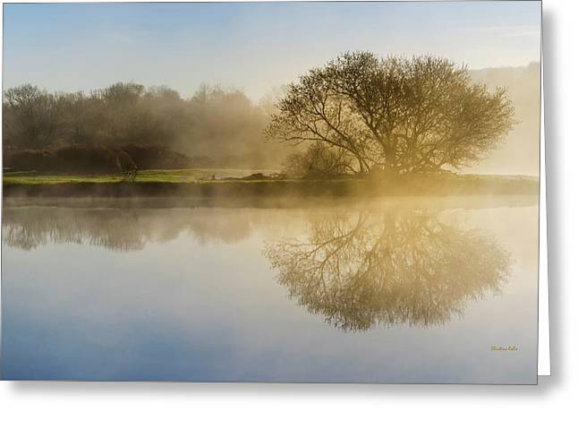 Beautiful Misty River Sunrise Greeting Card